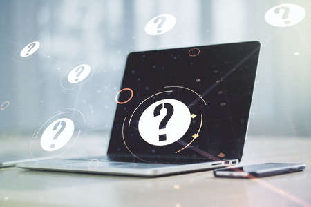 Creative abstract question mark hologram on modern computer background, future technology concept. Multi exposure Banque d'images