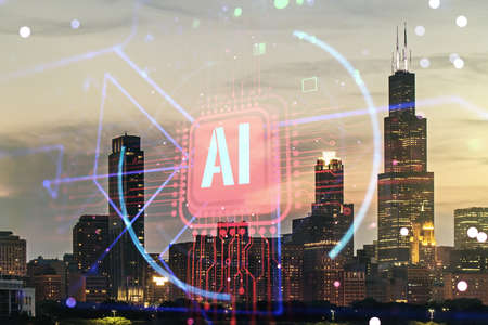 Double exposure of creative artificial Intelligence abbreviation hologram on Chicago office buildings background. Future technology and AI concept Standard-Bild