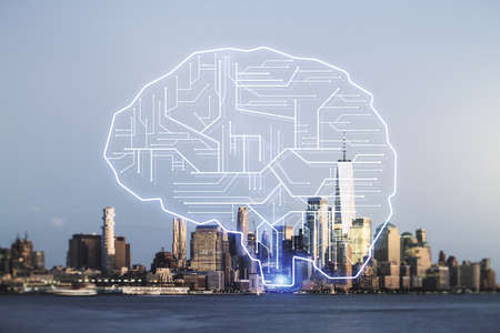 Virtual creative artificial Intelligence hologram with human brain sketch on New York cityscape background. Double exposure 版權商用圖片