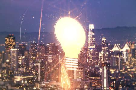 Virtual Idea concept with light bulb illustration on San Francisco skyline background. Multiexposure