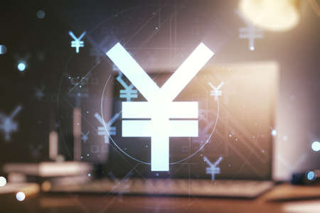 Double exposure of creative Japanese Yen symbol hologram on laptop background. Banking and investing concept Foto de archivo