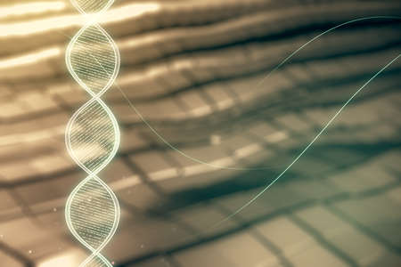 DNA hologram on abstract metal background, science and biology concept. Multiexposure
