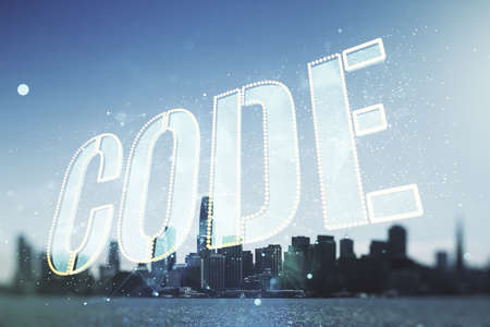 Code word hologram on San Francisco cityscape background, international software development concept. Multiexposure