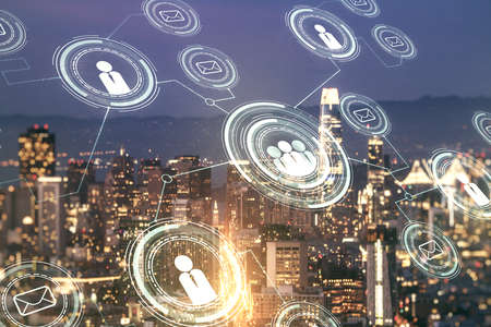 Double exposure of social network icons hologram on San Francisco office buildings background. Networking concept Foto de archivo