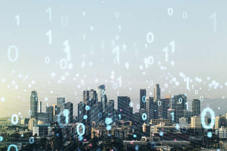 Abstract virtual binary code illustration on Los Angeles skyline background. Big data and coding concept. Multiexposure 免版税图像