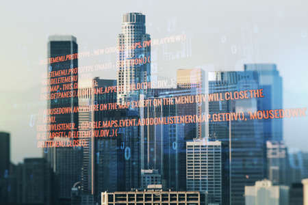 Double exposure of abstract creative programming illustration on Los Angeles office buildings background, big data and blockchain concept