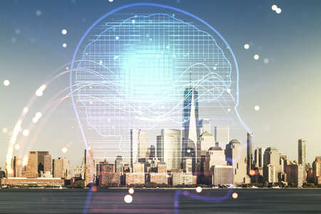 Double exposure of creative human head microcircuit hologram on Manhattan office buildings background. Future technology and AI concept