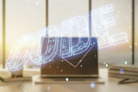 Creative Code word hologram on modern computer background, artificial intelligence and neural networks concept. Multiexposure 免版税图像