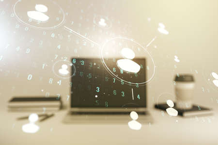 Social network media concept with modern computer on background. Double exposure