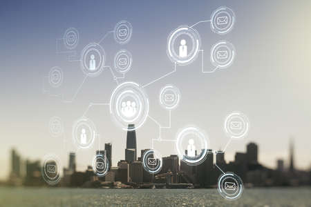 Abstract virtual social network hologram on San Francisco cityscape background. Double exposure Stock fotó