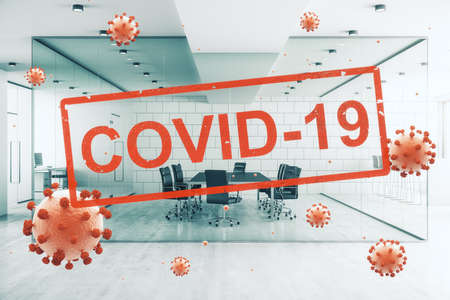 Concept empty corporate office closed for quarantine due to coronavirus, COVID-19