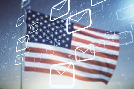 Abstract virtual postal envelopes illustration on US flag and blue sky background. Email and communications concept. Multiexposure