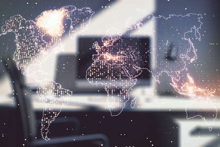Multi exposure of abstract graphic world map and modern desk with computer on background, connection and communication concept