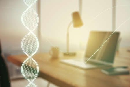 Creative DNA sketch on modern laptop background, biotechnology and genetic concept. Multiexposure 写真素材