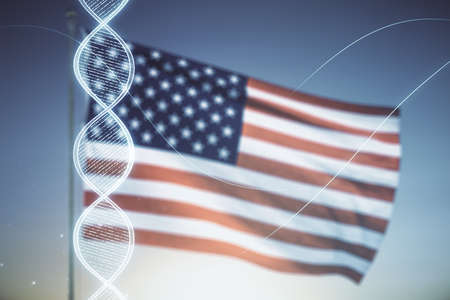 Virtual DNA symbol illustration on US flag and blue sky background. Genome research concept. Multiexposure