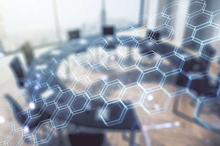 Abstract virtual wireless technology hologram with hexagon on a modern coworking room background, artificial intelligence and machine learning concept. Multi exposure