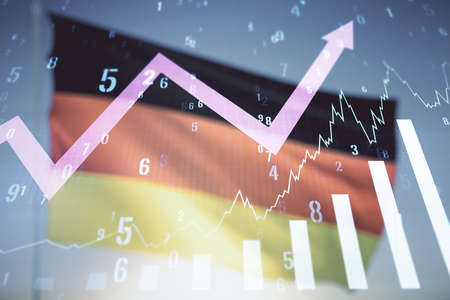 Abstract virtual financial graph hologram and upward arrow on flag of Germany and sunset sky background, forex and investment concept. Multiexposure