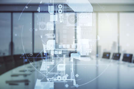 Double exposure of creative artificial Intelligence hologram on a modern meeting room background. Neural networks and machine learning concept