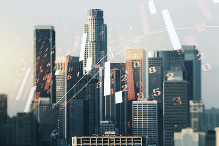 Multi exposure of virtual abstract financial diagram on Los Angeles office buildings background, banking and accounting concept