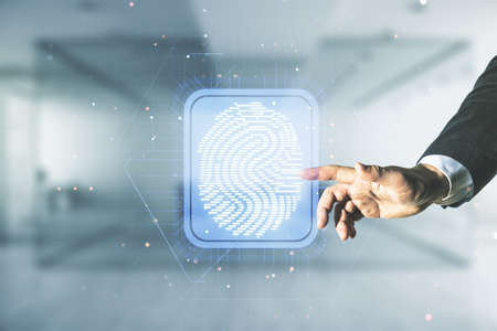 Multi exposure of developers hand clicks on virtual graphic fingerprint sketch on blurred office background, fingerprint scan data concept