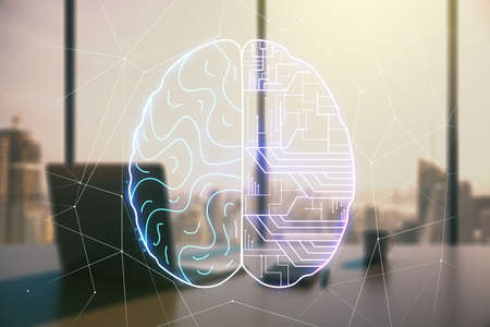 Double exposure of creative human brain microcircuit and modern desk with computer on background. Future technology and AI concept