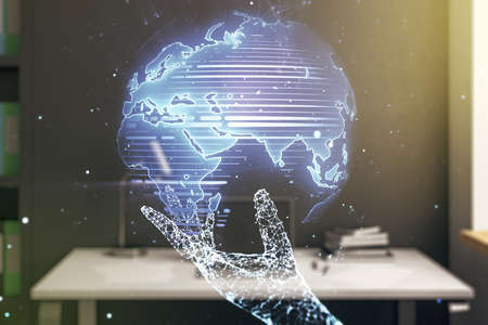 Multi exposure of abstract graphic world map and modern desktop with pc on background, big data and networking concept