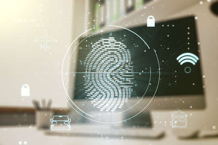 Abstract creative fingerprint illustration and modern desktop with pc on background, personal biometric data concept. Multiexposure