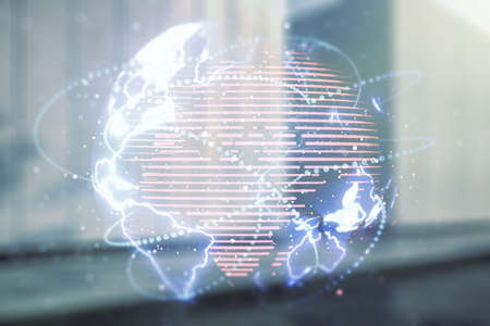 Double exposure of abstract digital world map hologram with connections on contemporary business center exterior background, big data and blockchain concept Stock Photo