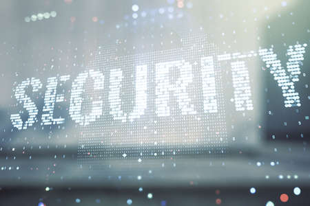 Virtual cyber security creative concept on blurry modern office building background. Double exposure