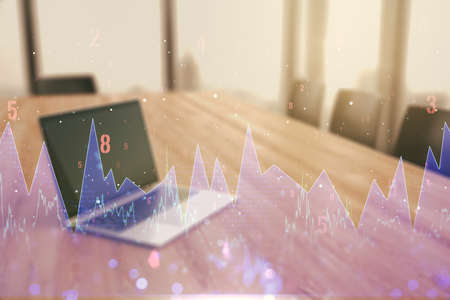 Double exposure of abstract creative statistics data hologram on laptop background, statistics and analytics concept