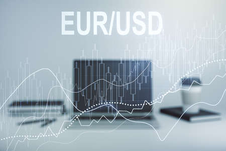 Creative concept of EURO USD financial chart illustration on modern laptop background. Trading and currency concept. Multiexposure