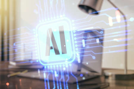 Double exposure of creative artificial Intelligence icon with modern laptop on background. Neural networks and machine learning concept Stock Photo
