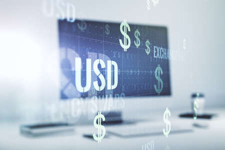 Creative EURO USD symbols sketch on modern laptop background, strategy and forecast concept. Multiexposure Stock Photo