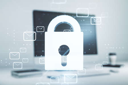 Cyber security creative concept with email icons on modern laptop background. Double exposure