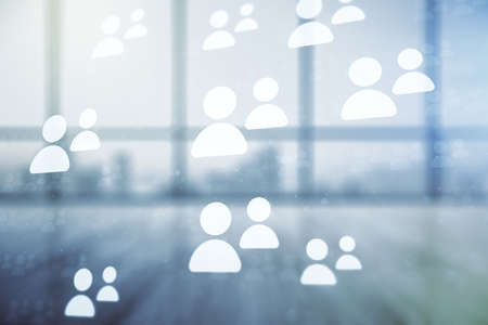 Double exposure of social network icons hologram on empty room interior background. Networking concept Stock Photo