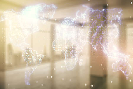 Multi exposure of abstract creative digital world map hologram on empty modern office background, research and analytics concept