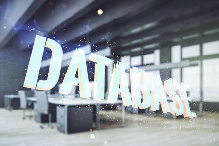Double exposure of Database word sign on a modern furnished office background, global research and analytics concept