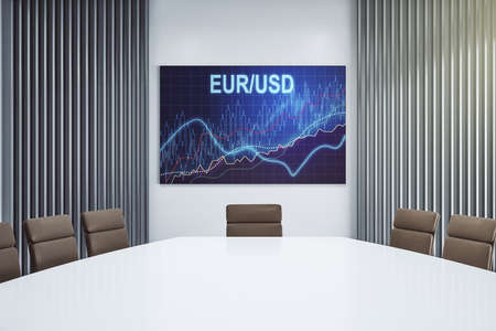 Creative concept of EURO USD financial chart illustration on presentation screen in a modern conference room. Trading and currency concept. 3D Rendering