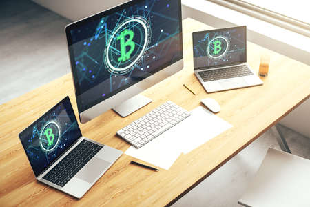 Creative Bitcoin concept on modern laptop screen. 3D Rendering Stock Photo