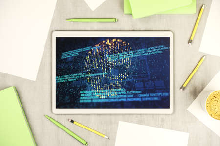 Creative code skull hologram on modern digital tablet display, cybercrime and hacking concept. Top view. 3D Rendering