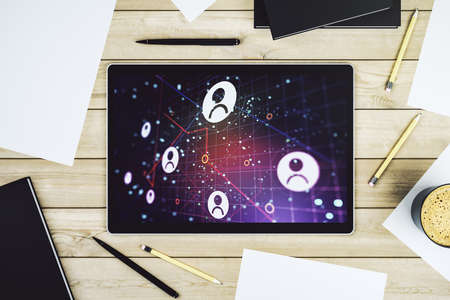 Social network concept on modern digital tablet screen. Top view. 3D Rendering