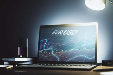 Creative EURO USD financial graph illustration on modern computer monitor, forex and currency concept. 3D Rendering