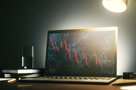 Modern computer monitor with creative abstract global crisis chart with world map hologram. Financial crisis and recession concept. 3D Rendering