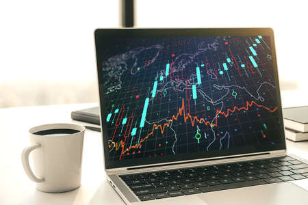 Modern computer monitor with abstract creative financial chart with world map, research and strategy concept. 3D Rendering