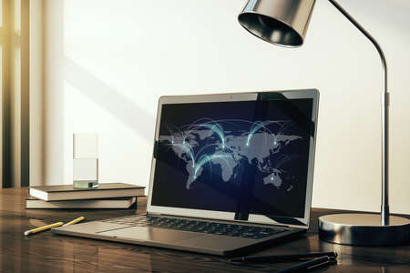 Modern computer monitor with abstract digital world map with connections, research and strategy concept. 3D Rendering Stock Photo
