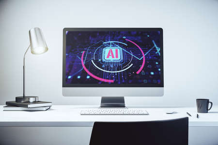 Computer monitor with creative artificial Intelligence abbreviation. Future technology and AI concept. 3D Rendering