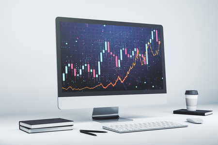 Modern computer display with abstract financial graph, financial and trading concept. 3D Rendering Stock Photo