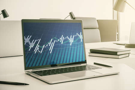 Modern computer monitor with abstract creative financial chart, research and strategy concept. 3D Rendering Stock Photo