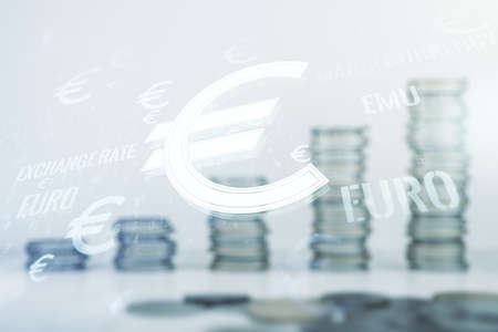 Virtual EURO symbols illustration on coins background, forex and currency concept. Multiexposure 版權商用圖片