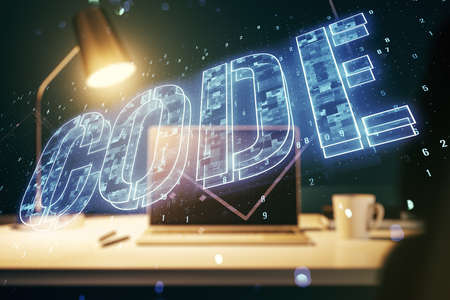 Creative Code word hologram on modern computer background, artificial intelligence and neural networks concept. Multiexposure
